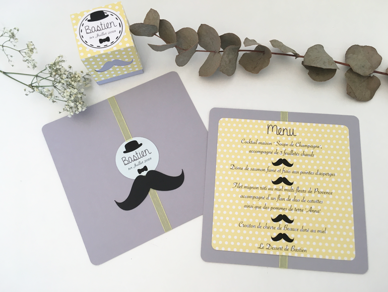 Menu Moustache, noeud papillon, chapeau melon